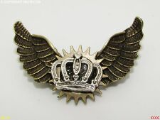 Steampunk brooch badge owl wings pin silver crown regal royal Harry Potter