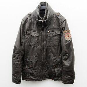 KHUJO Dodge Men's 2XL Coat Parka Jacket Windbreaker Casual Zip Brown Cotton