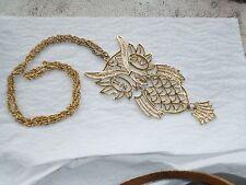 3 owl Necklaces rhinestone Gold tone Metal