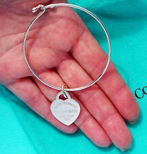 Tiffany & Co Return To Tiffany Sterling Silver Heart Tag Charm Bangle Bracelet