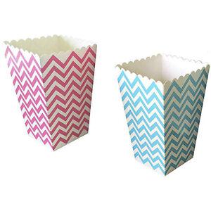24 Gender Reveal Paper Popcorn Boxes - Blue Pink Chevron