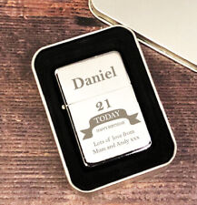 Personalised Silver Birthday Mens Lighter Gifts Ideas For Dad Him 18th 21st 40th