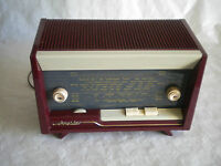 Vintage French Valve Radio Schneider Calypso designer Table top model 1950s
