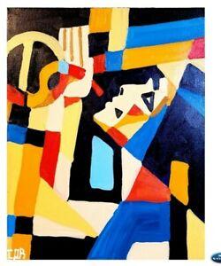 CORBELLIC CUBISM JAZZ PLAYER ORIGINAL PAINTING MODERNISM DECOR LARGE CANVAS ART