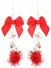 Zest Christmas Balls Bows & Bells Dangly Earrings for Pierced Ears Red & Silver