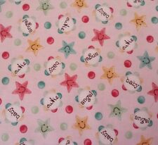 """24"""" Baby Bundles Victoria Hutto Quilting Treasures Words Stars on Light Pink"""
