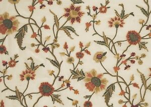CREWEL EMBROIDERED ORGANZA FABRIC