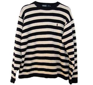 POLO Ralph Lauren Sweater MENS Size M Navy Blue LINEN Cotton Striped Navy White