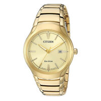 Citizen Eco-Drive Men's Champagne Dial Gold-Tone Bracelet 40mm Watch AW1552-54P