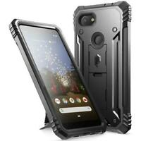 Poetic For Google Pixel 3a Kickstand Case,Dual Layer Shockproof Cover Black