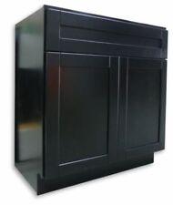 """30x21"""" Black Shaker Wood Bathroom Vanity Double Door Rta"""
