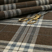 Quality Hard Wearing Plaid Tartan Stripe Chenille New Upholstery Fabric In Brown