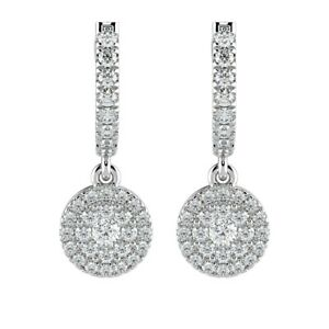 0.60 CT Round Diamond Hoop with Hanging Halo Earring in 18K White Gold