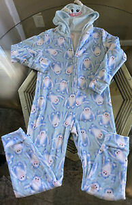 justice sleep yeti pajama fleece size 12 Zip Up blue white One Piece