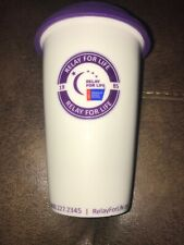 Relay For Life Ceramic Coffee Cup Purple Silicone Top 1985 made in Usa