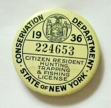 1936 New York State Hunting, Trapping and Fishing License Button