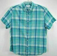 Crown & Ivy Mens XLarge Shirt Green Plaid Short Sleeve Button Up Cotton Blend EC