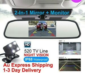 "4.3"" Car Rear View Mirror Monitor Parking Reversing Camera Night Vision CCD Kit"