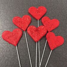 Edible Love Hearts Red With Glitter On Wire   Valentines,Wedding,Cake Toppers x6