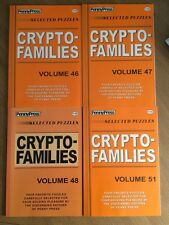 Lot of 4 Cryptofamilies Penny Press Crypto Families DELL Selected Puzzle Variety