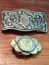 Lot Of 2 Vintage Cowgirl Flower Engraved Repurposed Coin Belt Bucklel