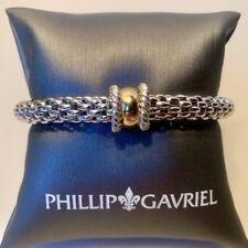 NWT Phillip Gavriel Sterling &18K Stretch Bracelet Large 18K Barrel Round