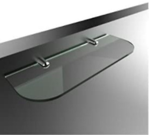 400mm x 100mm Toughened 6mm Glass Shelf with Curved Corners and Chrome Finish