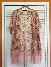 XL/1X FLORAL Pink Lace Roses Print KIMONO Jacket Blouse Top Plus 14/16/18