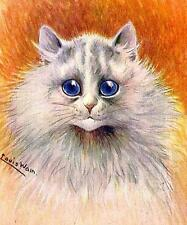 CAT, CHAT, KATZE, WHITE CAT WITH BIG BLUE EYES, LOUIS WAIN, MAGNET