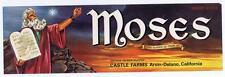 Moses, ten commandments, Fruit Crate Label,  Castle Farms, Arvin-Delano CA