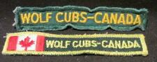Wolf Cubs Canada Pair of Vintage Rectangular Strip Patches 1 with Maple Leaf