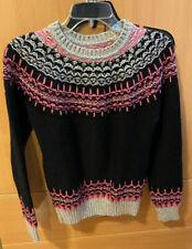 Women's SUPERDRY Fair Isle Wool Nordic Knit Long Crew Neck Sweater Jumper Size S