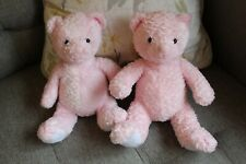 2 x MOTHERCARE PINK TEDDY BEAR SOFT TOY COMFORTER