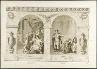 1825 - Grabado Antigua Crébillon (Santa ) & Ducis - Teatro - Orestes Hamlet