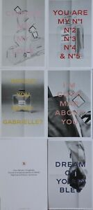 5 Chanel Promo Advertising Perfume Sniff Sample Card Set