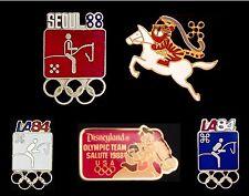 Lot~Set 5 Olympic Modern Pentathlon Pin~NEW~1984~1988~Hodori~Disney~Donald Duck