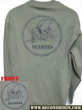 NAVY SEABEES LONG SLEEVE T-SHIRT/ NEW/ MILITARY GRADE/ HEAVY WEIGHT