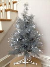"88-5704 42"" Retro-Silver Space Saver Artificial Christmas Tree White LED Lights"