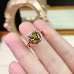 2 ct Round Cut Halo Peridot And Diamond Engagement Ring 14k Rose Gold Finish