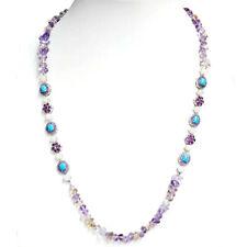 "Rarities 28"" Turquoise Multi Semi Precious Gemstone 298 carats Necklace S Silver"