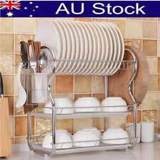 3 Layer Chrome Alloy Dish Drainer Cutlery Holder Rack Drip Kitchen Storage Tool