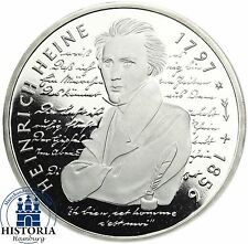 Alemania 10 dm Heinrich Heine 1997 espejo de plata brillo moneda en münzkapsel