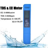 Digital TDS EC TEMP Meter Messgerät Tester Wassertest 0-9990ppm Aquarium Prüfer