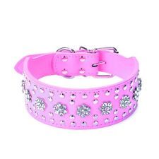 Rhinestone Flower Studded Leather Dog Collar for large dogs Pit Bull Terrier