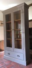 Solid Pine Painted Glass Glazed Display Cabinet Bookcase Kitchen Larder Cupboard
