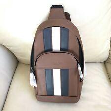 NWT Coach Men Houston Sling Pack Backpack Varsity Stripe F49318 Saddle Multi
