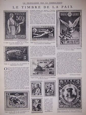 ARTICLE DE PRESSE 1932 LA PROPAGANDE PAR LE TIMBRE POSTE TIMBRE DE LA PAIX