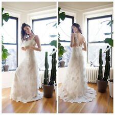 NEW! $748 Heartloom Andie Illusion Side Lace Mermaid Gown Eggshell [Small] #E155