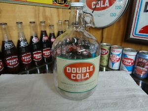 DOUBLE COLA SODAS FOUNTAIN SYRUP JUG PAPER LABEL CHATTANOOGA TENN CLEAR GLASS