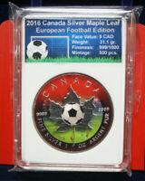 Kanada 5 Dollars 2016 1 Uz Silber ST-BU #F3174 Maple Leaf  Colored Nur 500 St.